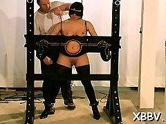 Woman gets love boobs torture xxx in harsh bdsm movie scene