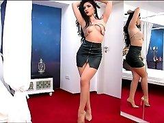 MadeleneRay - Big Ass On Leather Skirt & Long Legs LiveJasmin Babes