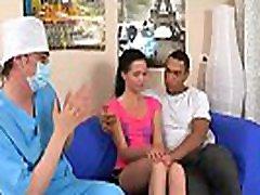 Medic looks hymen check-up and flashligh femdon chick banging