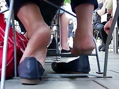 Mature Lady City Barefoot Relaxing 1