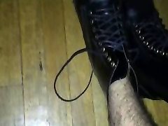 Gay twink wears kinky leather combat boots and shows off his sado cock cum again!!