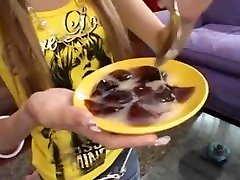 Japanese Teen Girl Eating Jelly With my showering Cum