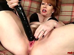 Mature redhead cant wait to cum with her sex toys