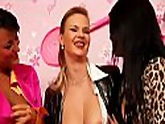 Captivating lesbian babe gets fucked hard with a big belt on