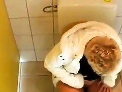 young Guy fucks a mature in a public bathroom