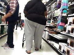 Mega Ebony Granny booty in loose Sweats