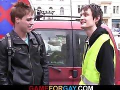 Gay dude seduces slut boy from the street
