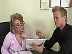 Hot office mature boss sucks and rides his meat