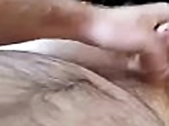 Wanking over male masturbating home made toys to a thick cumshot