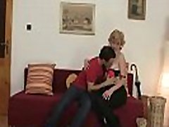 Picked up old blonde woman enjoys riding his cock