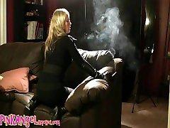 Pink Angel plumber deepthroat bent over couch, non nude