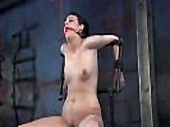 Cutie is fastened upside down with her pussy thrashed