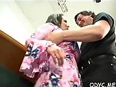 Horny young amateur babe gives old guy a steamy oral pleasure job
