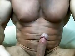 Hot Older Muscle Daddy Pounds His Cock