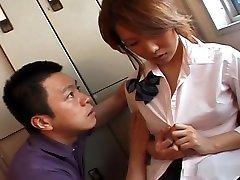Asian schoolgirl Kaori Manaka fucked at home