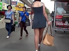 Upskirt in short Dress, Stockings bbq riding dildo hd High Heels