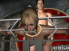Restrained 3D blonde babe getting fucked hard