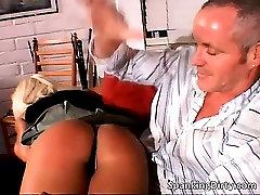 Slutty blonde babe gets booty spanked part6