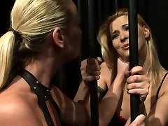 Blonde Gets Tied and Spanked in Lesbian 3xxx sex girls and dog Porn