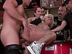 Monster tits alt blonde bangs in biker bar