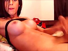 Busty Transsexual Bombshell Messy Cumshot On Her Belly