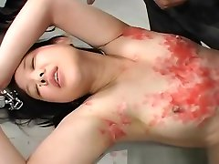 Asian bitch has a waxing and spanking caned compilation session