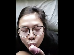 Hacked Cute rose latina maid blowjob with slowmo facial on glasses