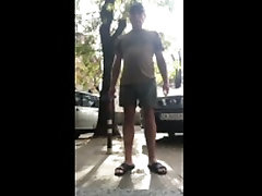 pissing my pants in public street with people