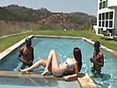 An interracial poolside threeway with asian try caucasian boobed Gianna