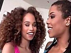 Ebony teen babes Kira Noir and Cecilia Lion steamy lesbian ANAL showdown.