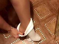 Femdome slave kiss, lick nylon and socks gag schoolgirl