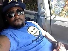 black stud self facial in car