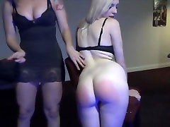 red headed domme spanks petite blonde slut