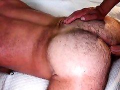 Hairy bear wanking his throbbing dong