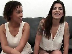 Threesome–big tits lesbian get fucked anal