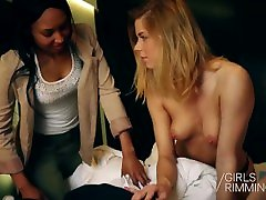 Nasty Threesome Rimming with Blonde and Ebony Beauties