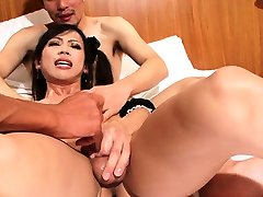 Ladyboy maid gets assfucked on he bed