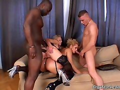 Two sluts having first encounter with interracial anal orgy