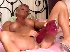 Mature FBB, with big Tits, Fucks himself with a huge Dildo and cums