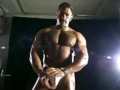 Hot Bodybuilder Muscle hunk teases flexing and posing