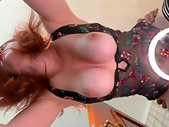 Redhead Beauty Milf Big Tits PAWG Fucking on Glass Table Bouncing Boobs