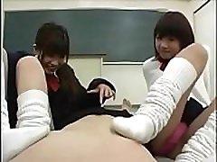 Asian Schoolgirl Sock sniffing