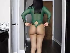 Sexy Big Booty Black Woman Trying on Lingeries G String