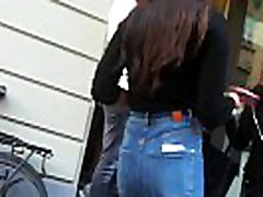 Sexy candid teen in tight jeans waiting in line