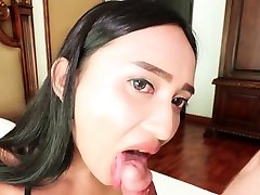 Asian tranny with big tits sucked and anal sex by a guy