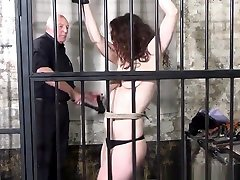 Whipped tits and rigid shemale torture penis of enslaved Beauvoir in bondage and severe