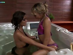 Black Angelika & Blue Angel in sensuous hot tub lesbians