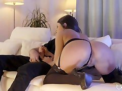 Babes.com - Gorgeous kissing models 11 rides hard dick and takes huge load on ass