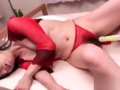 Hairy panther through With Red Bikini Screams Over Huge Dildo