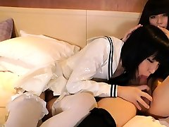 Anal loving ladyboys in latex costume fuck